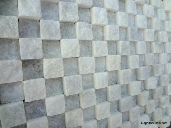2,5x2,5 cm Beyaz Patlatma Kübik Mermer-DPM108