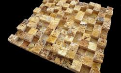 2,5x2,5 cm sarı patlatma kübik traverten-DP121