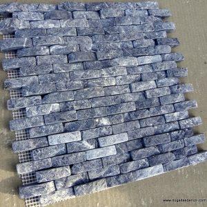 1,5x5 cm Siyah Patlatma-Eskitme Mermer-DPM113